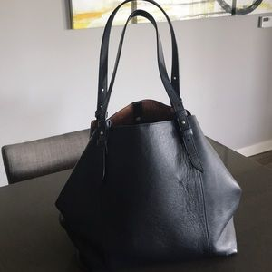 Navy Blue Leather Ann Taylor Tote- pre-loved -S-10